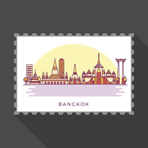 Puntos de referencia plana moderna de Bangkok en la ilustración vectorial sello