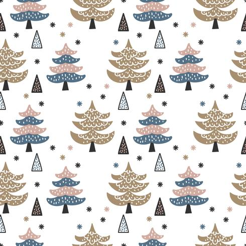 Scandinavische Winter Pines Forest Vector Pattern