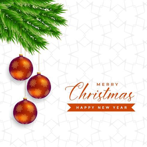 elegante árbol de navidad hojas con bolas colgantes