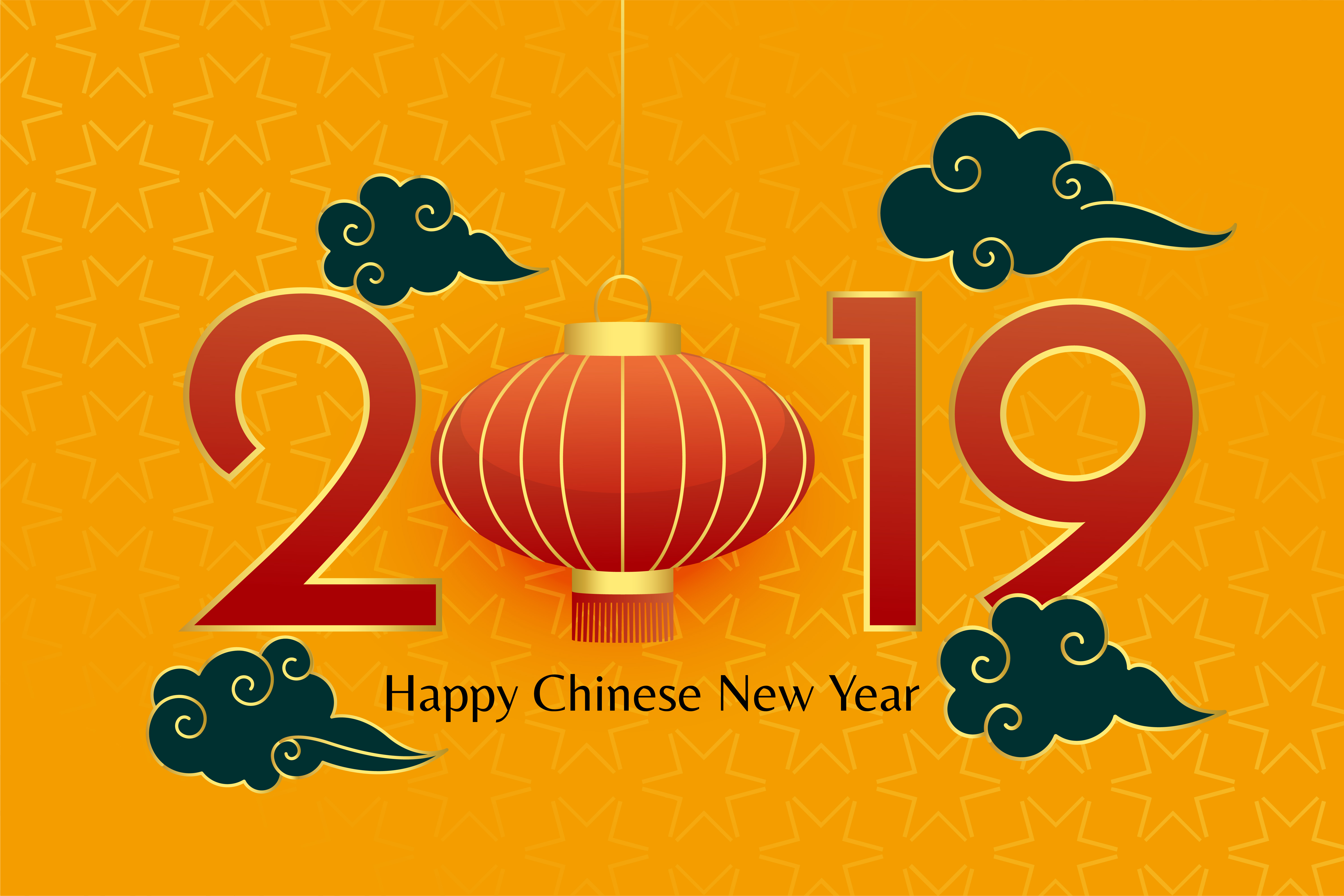 happy chinese 2019 new year decorative design - Download ...