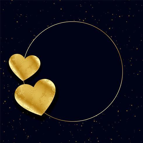 cadre coeurs d'or avec fond d'espace de texte