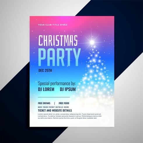 modelo de panfleto de Natal com árvore brilhante e colorido backgrou