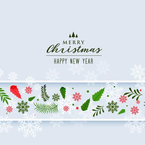 Fondo de decoración de copos de nieve y hojas de Navidad