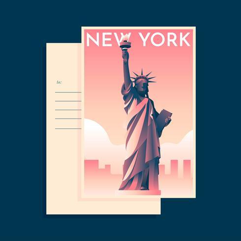 Frihetsstaty New York landmärke vykort mall