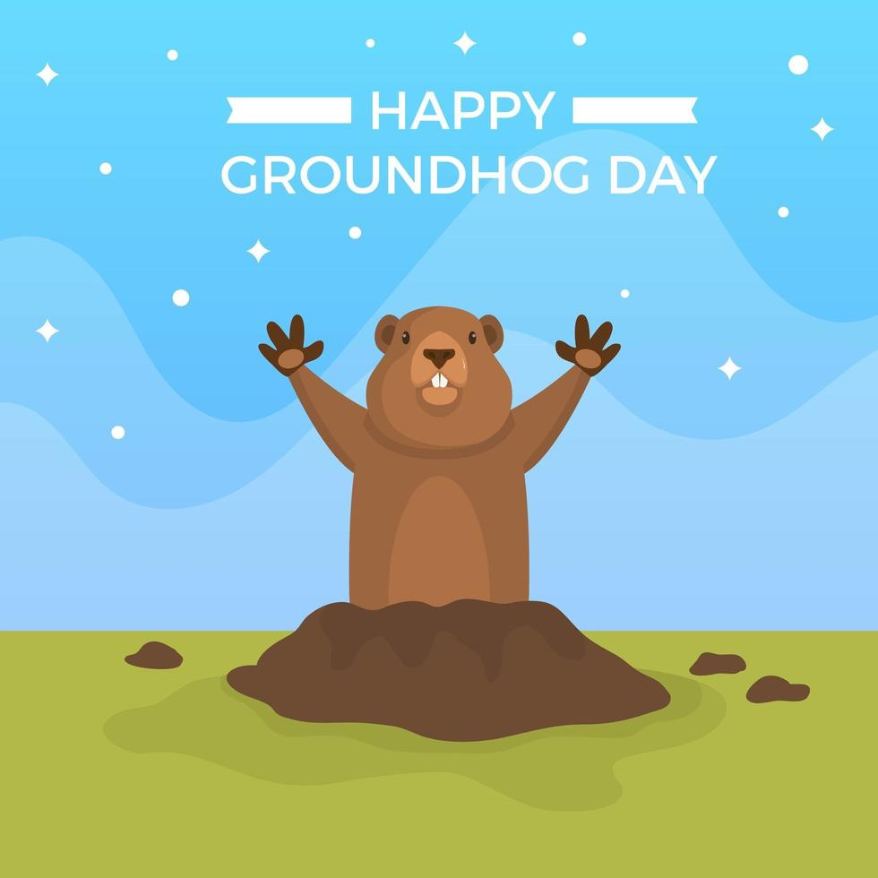 Flat Ground Hog Day Vector Illustration