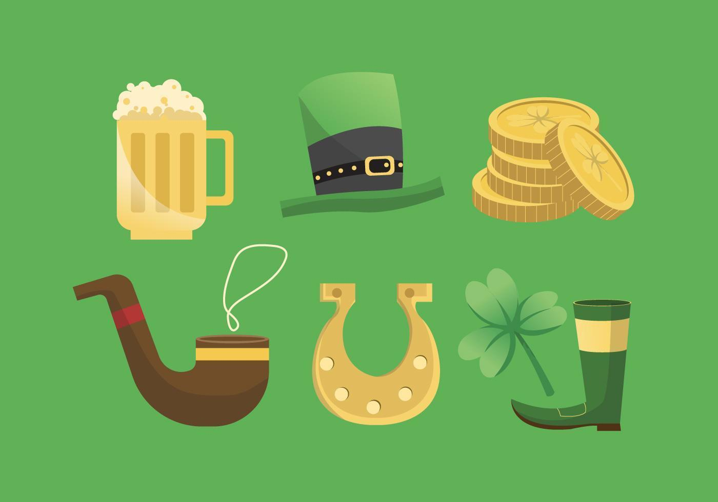 St Patricks Day Clip Art Set Vektor Illustration