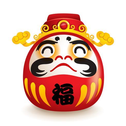 Japanische Daruma-Puppe mit Hut des Gottes von Weatlh