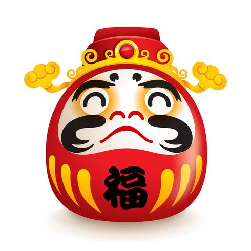 Boneca japonesa de Daruma com chapéu de deus de weatlh