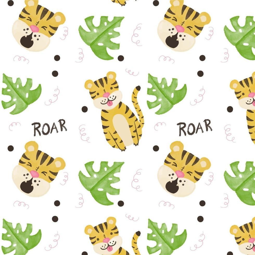 Cute Tiger Pattern With Exotic Leaves vecteur