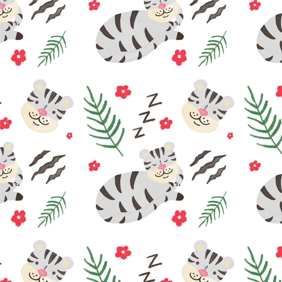 Cute Gray Tiger Pattern vecteur