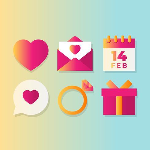 Alla hjärtans dag stiliga ikoner designelement