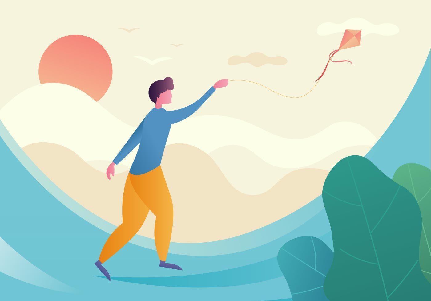 People Flying A Kite vecteur