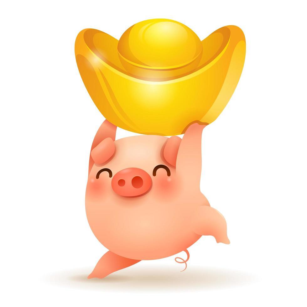 Kleines Schwein mit chinesischem Gold