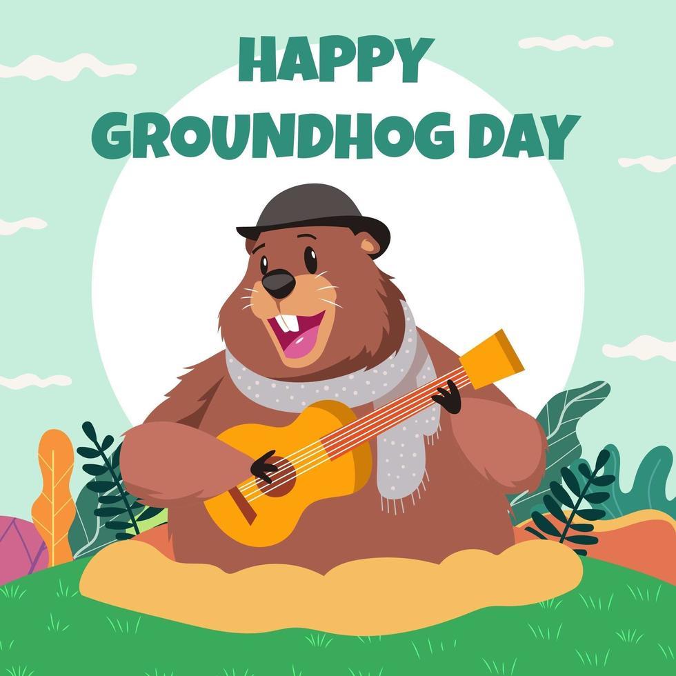 Ground Hog Day Card vecteur