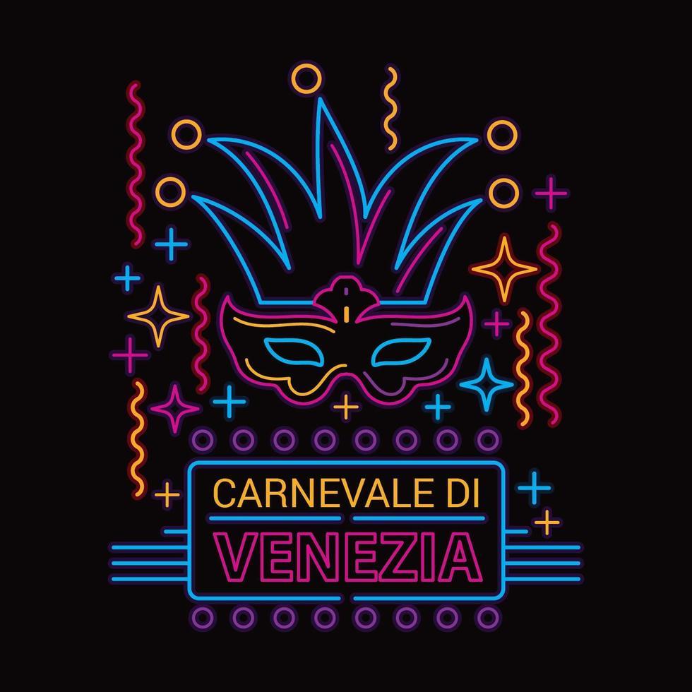 Ilustração de vetor de máscara de carnaval Estilo de lâmpada fluorescente de néon