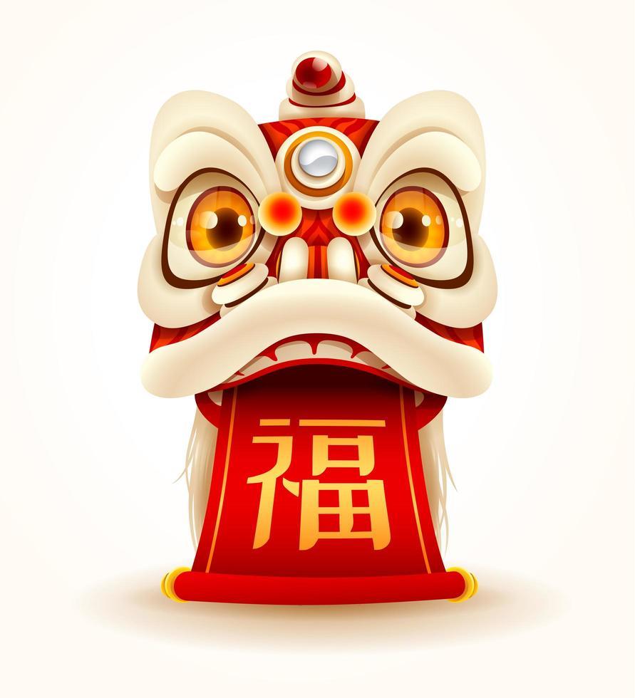Cabeça de dança de leão de ano novo chinês com rolagem