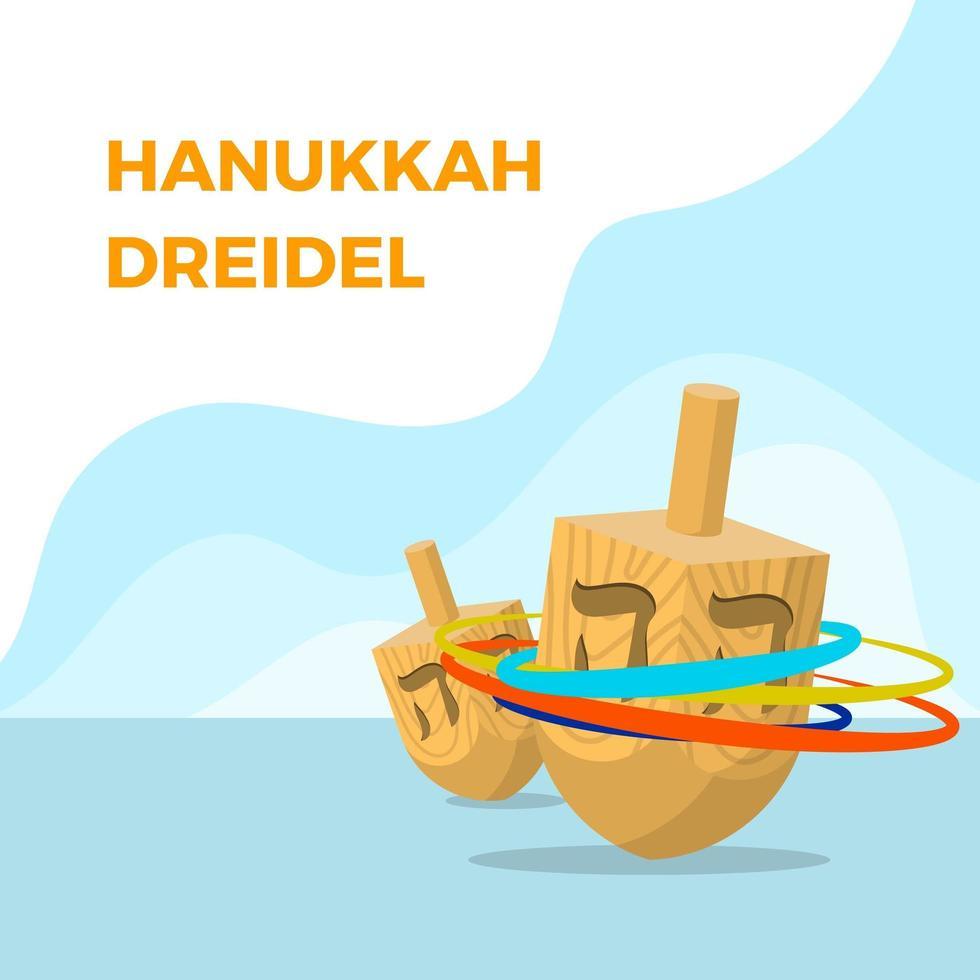 Flat Dreidel Hanukkah Vector Illustration