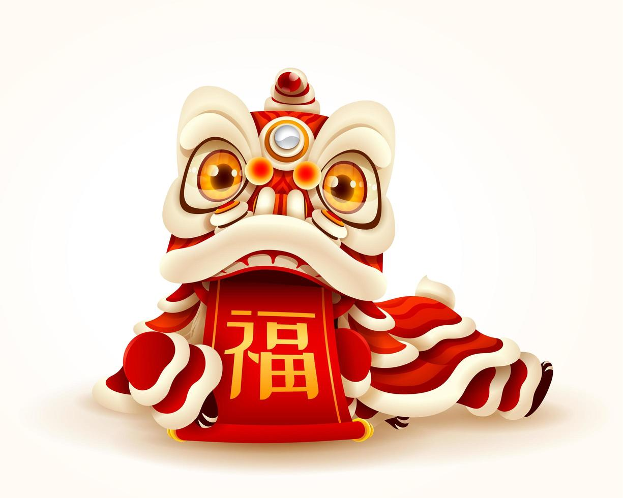 Chinese New Year Lion Dance with scroll vecteur