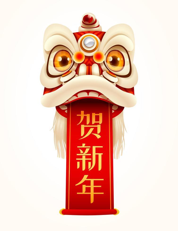Capodanno cinese Lion Dance Head con scroll