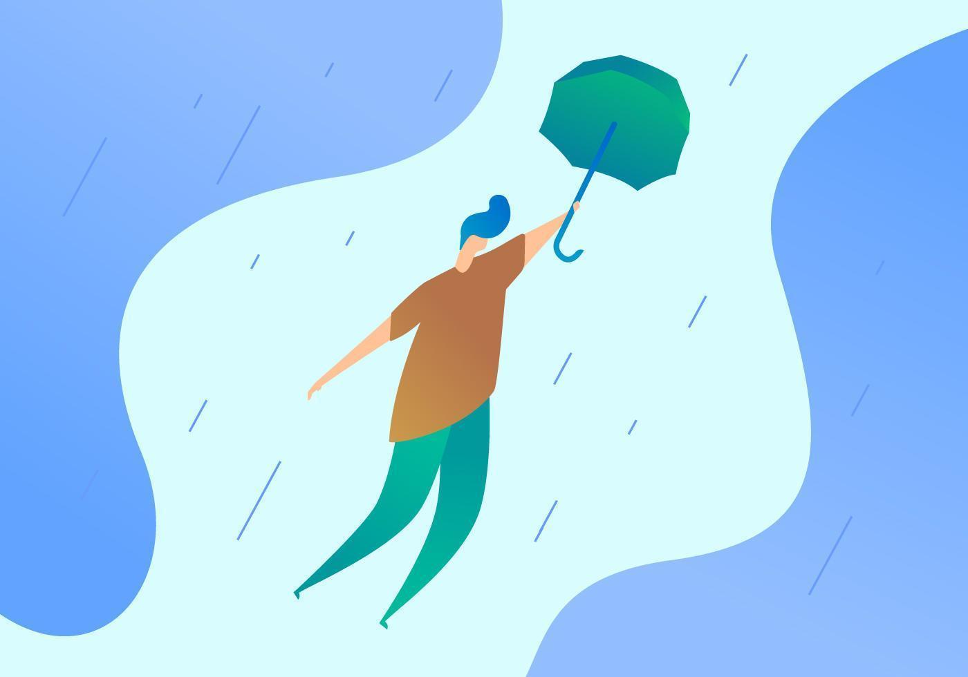 Superbe garçon tenant des vecteurs de parapluie