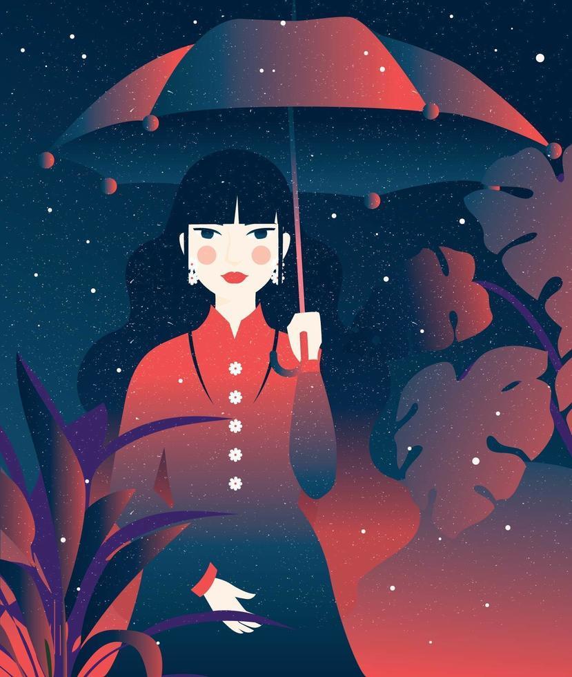 Fille tenant un vecteur parapluie