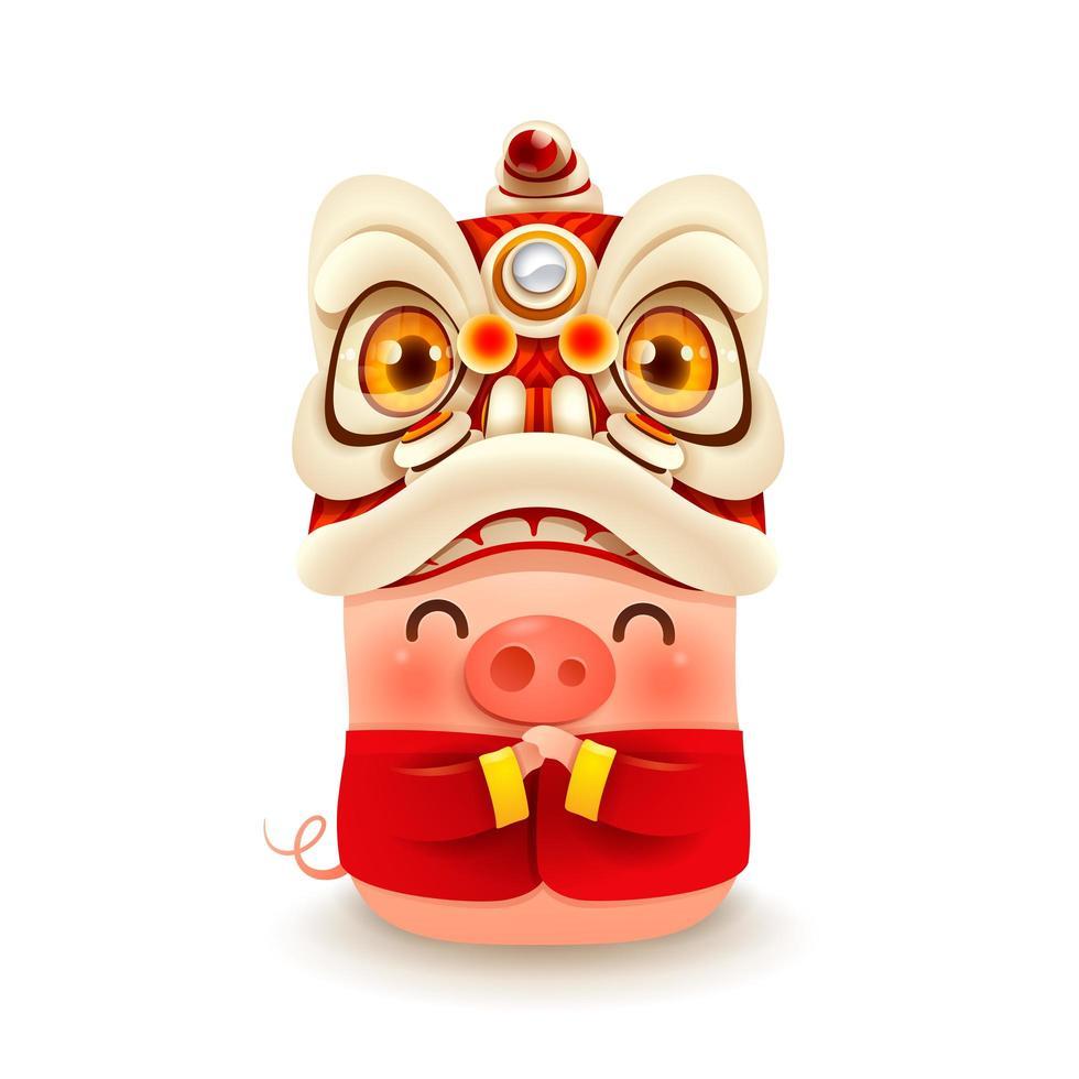 Porquinho com cabeça de dança de leão de ano novo chinês