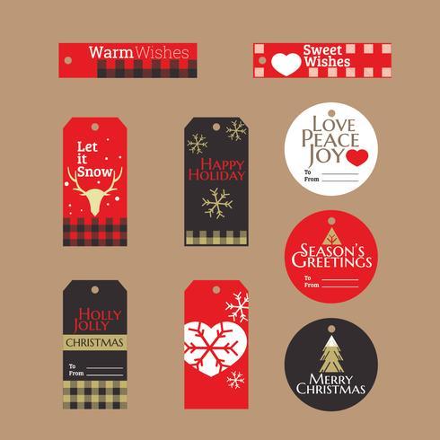 Etiquettes et étiquettes de cadeaux de Noël avec fond style Buffalo