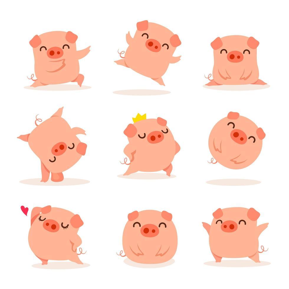 Collection of little piggy vecteur
