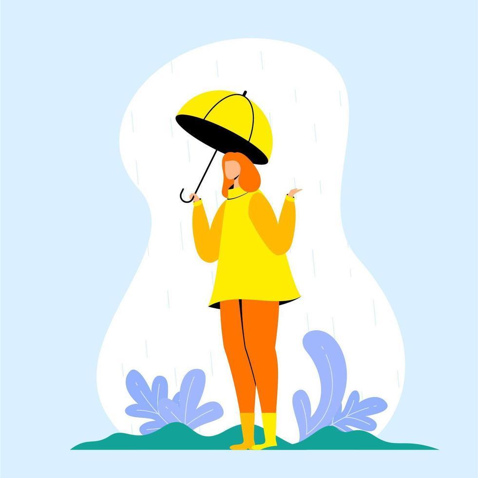 girl holding umbrella vecteur