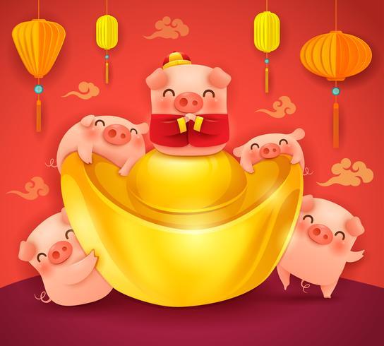 Cinq petits cochons avec lingot d'or chinois
