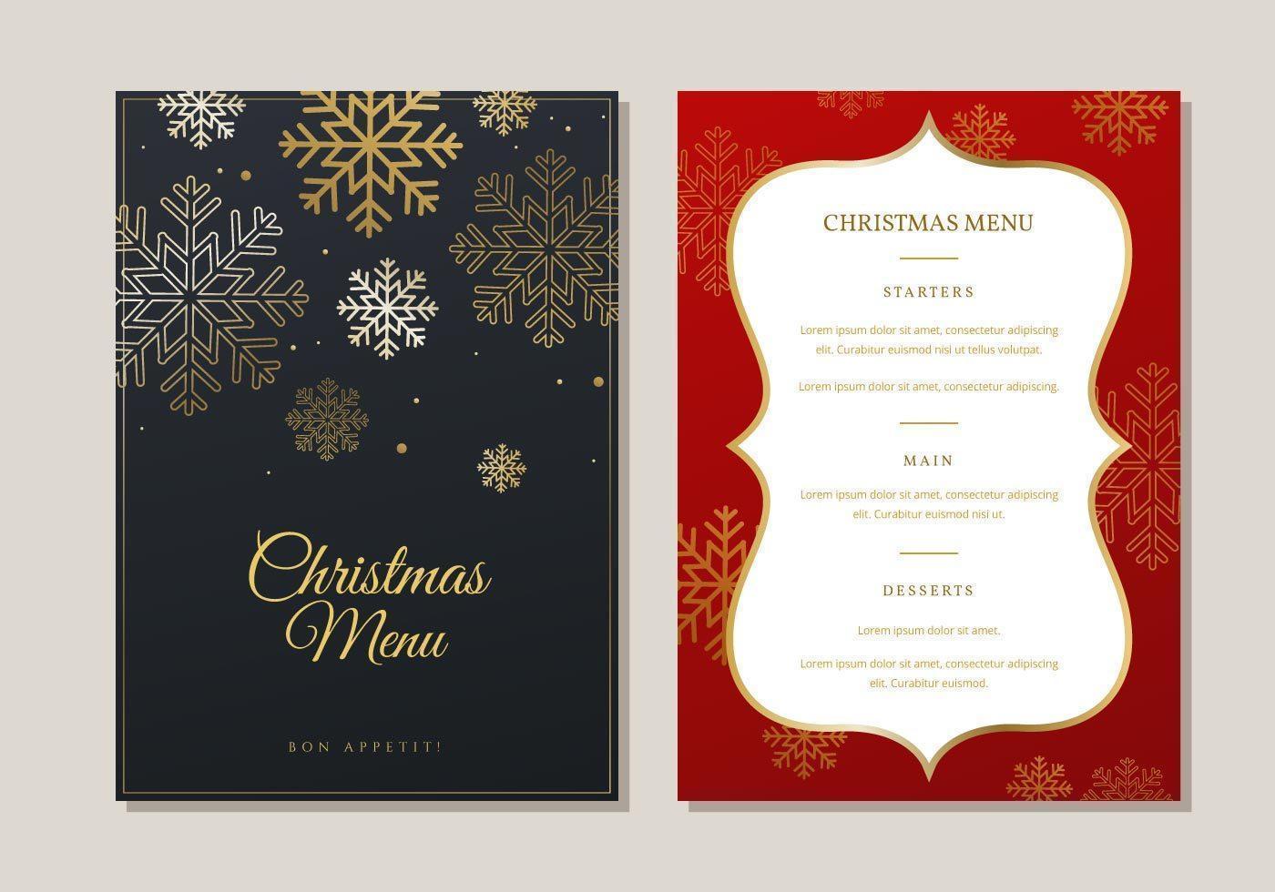 Christmas Menu Dinner Template vetor