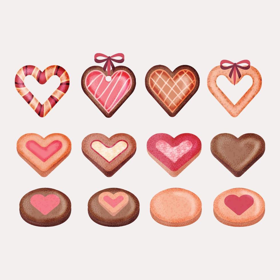 Vector Hand Drawn Alla hjärtans dag Cookies