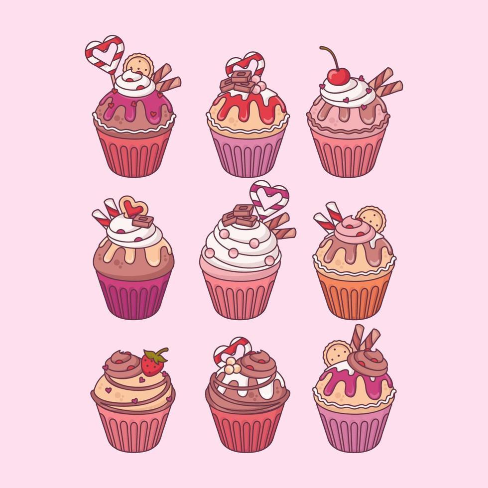 Vektor-Valentinstag-Cupcakes