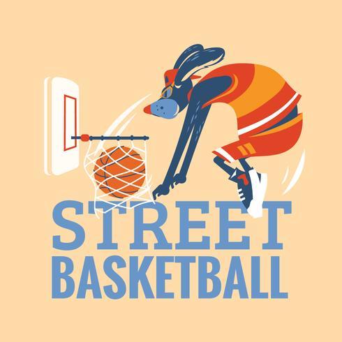 djur gata basket spelare i aktion