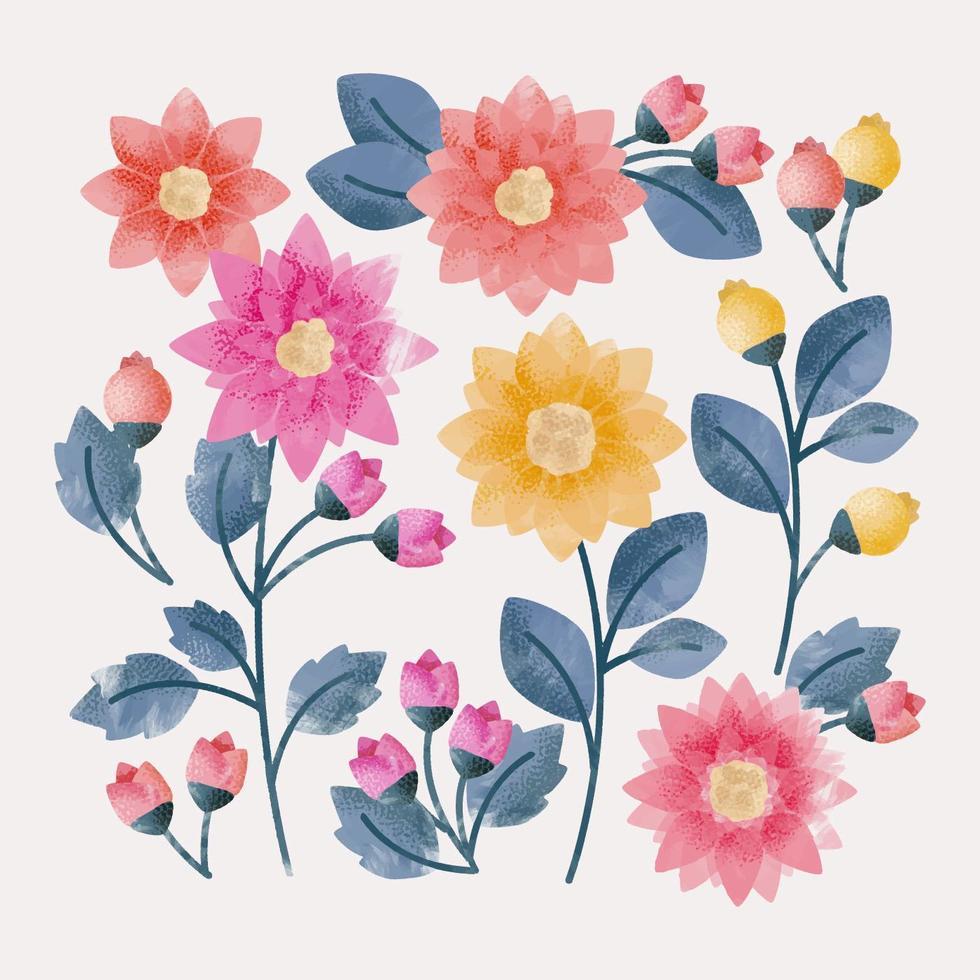 Flores de mão desenhada de vetor