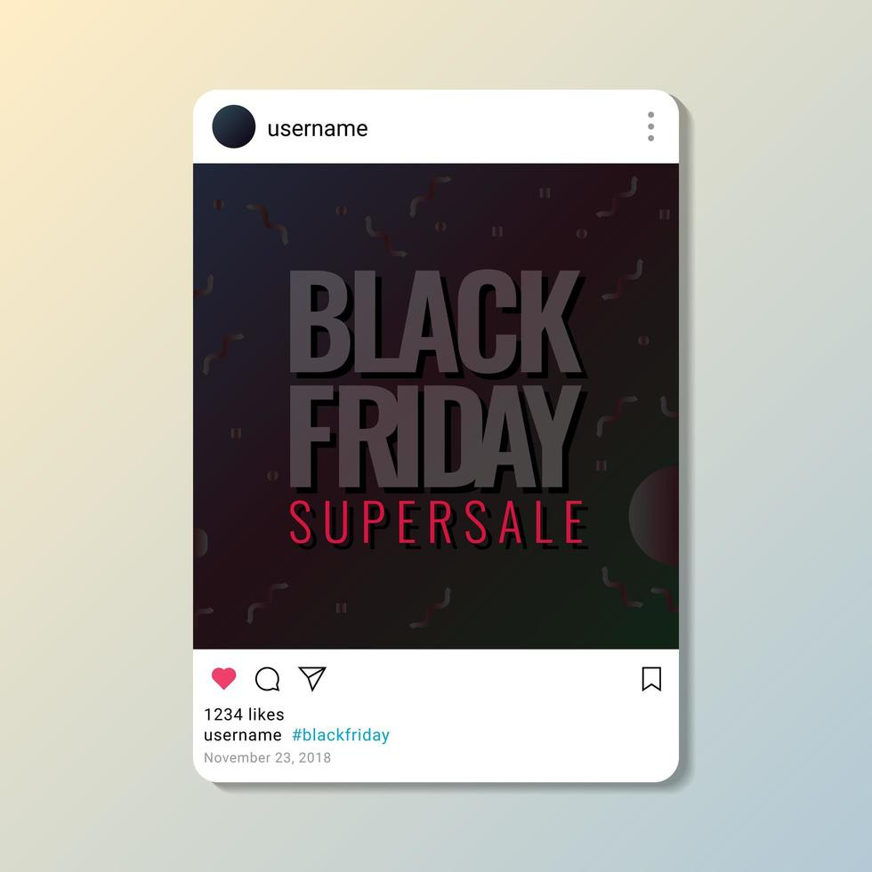 Black Friday Supersale Poster Design On Media Social Post Template vettore