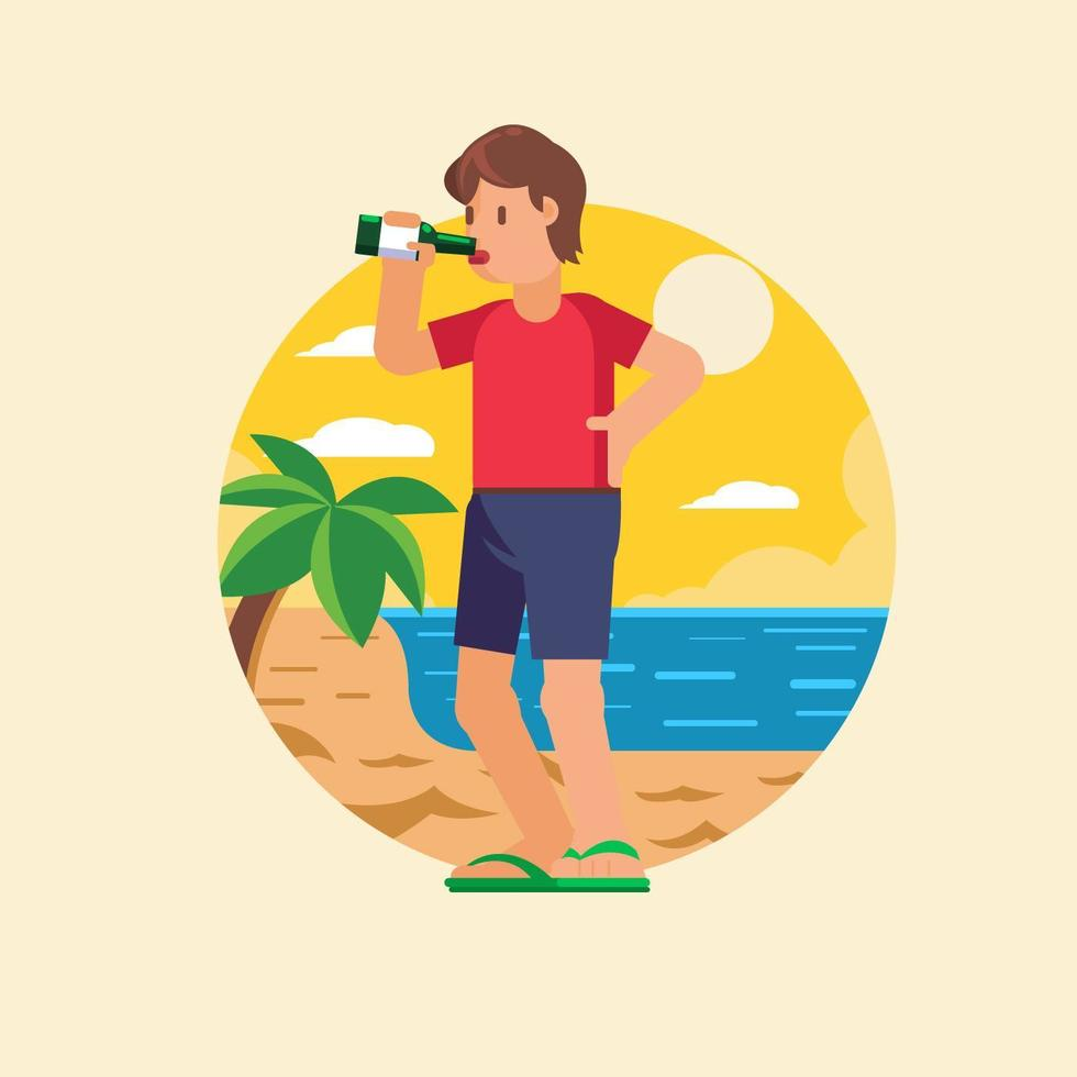 Guy Drinking Beer at the beach vetor