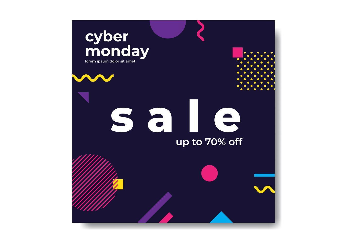 Cyber Monday Geometric Banner vector