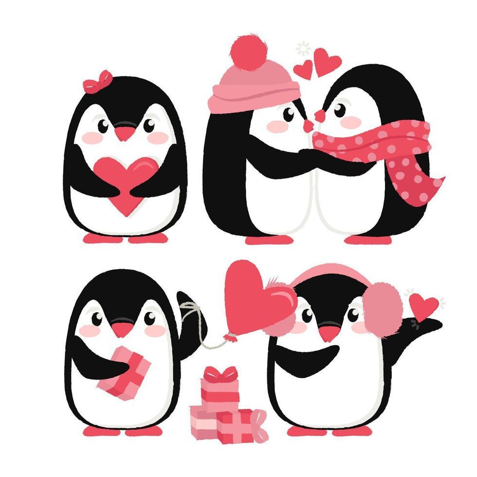 Vector lindo pingüinos