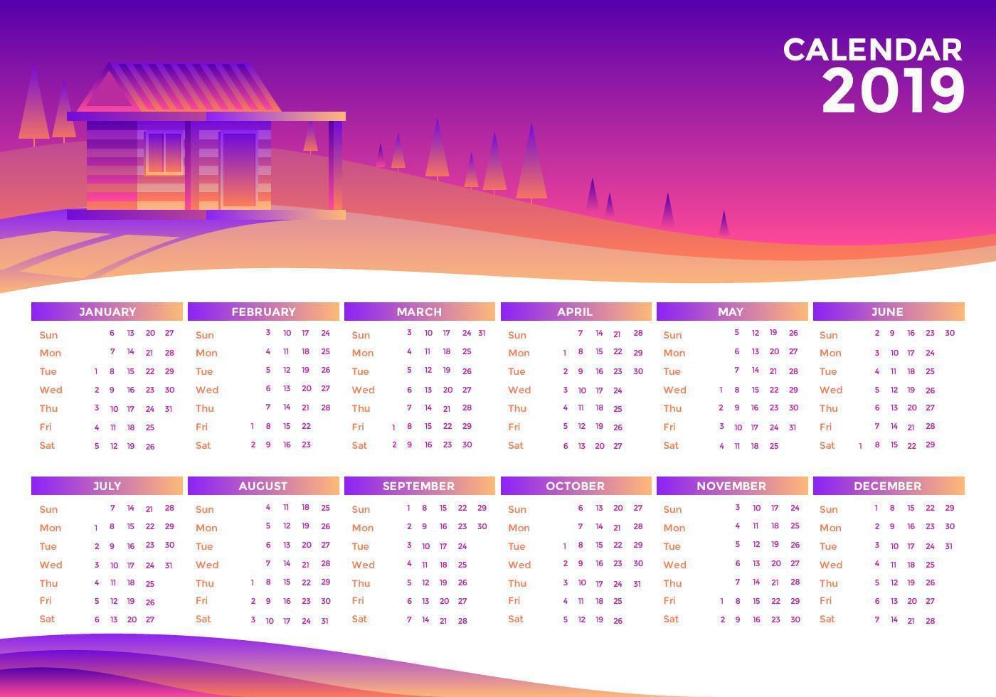 Paisaje 2019 Vector Calendario Imprimible