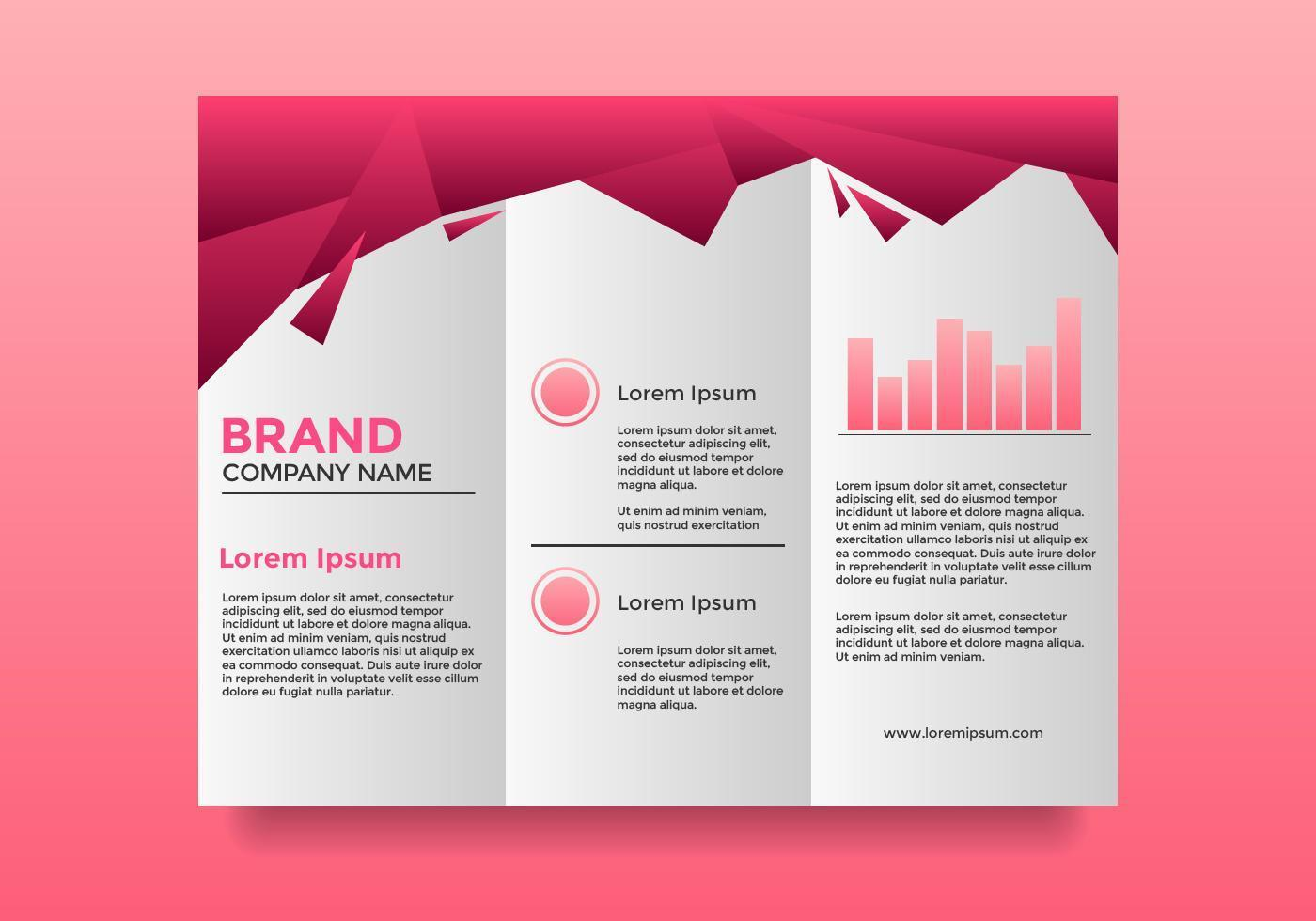Plantilla de folleto - profesional empresa rosa