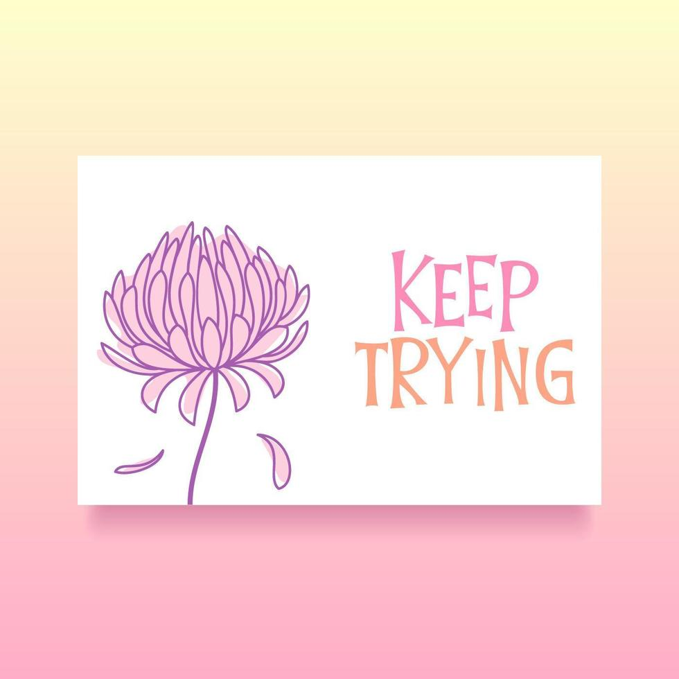 Keep Trying Card Of Encouragement Vector