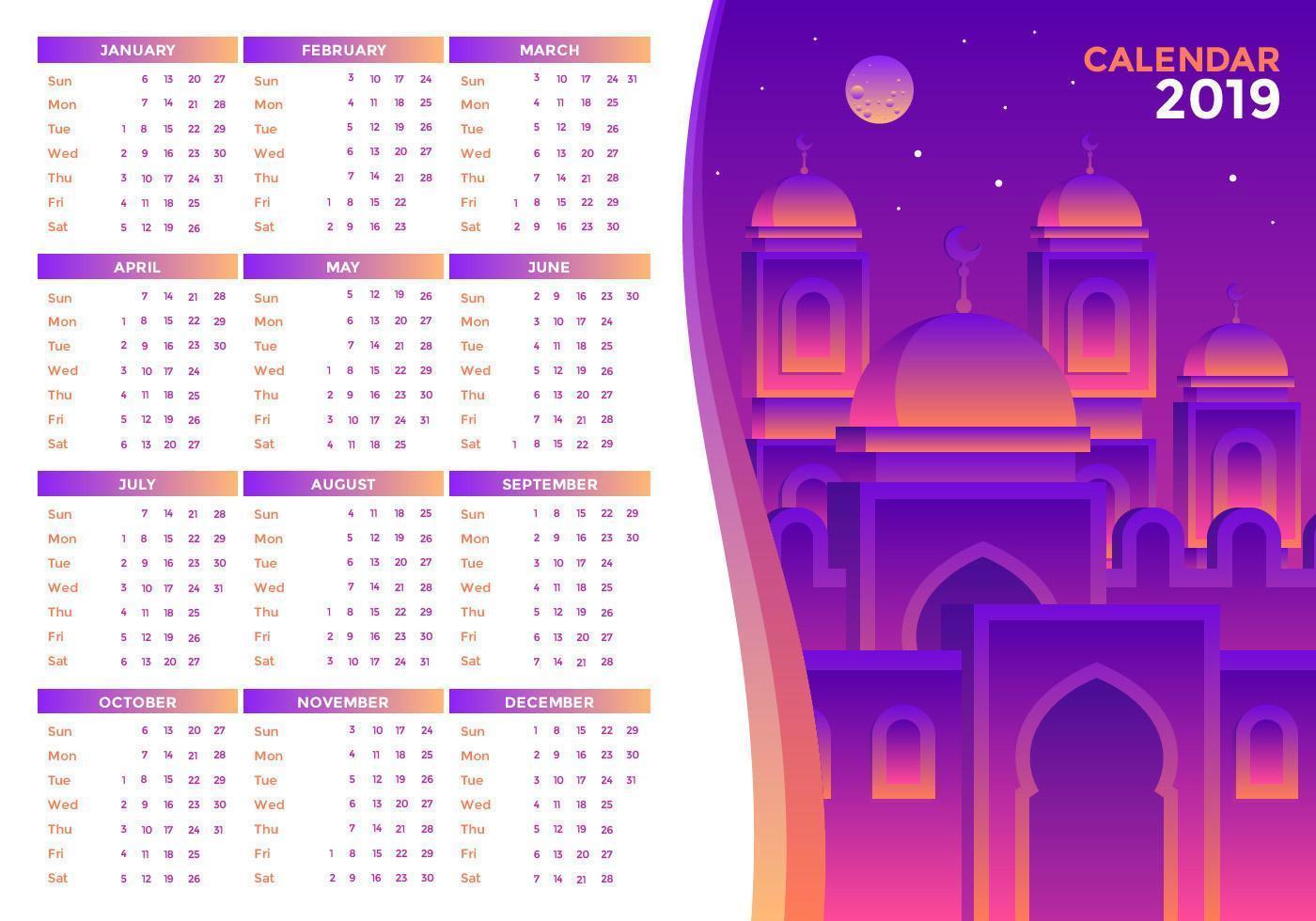Vetor de calendário islâmico 2019 imprimível