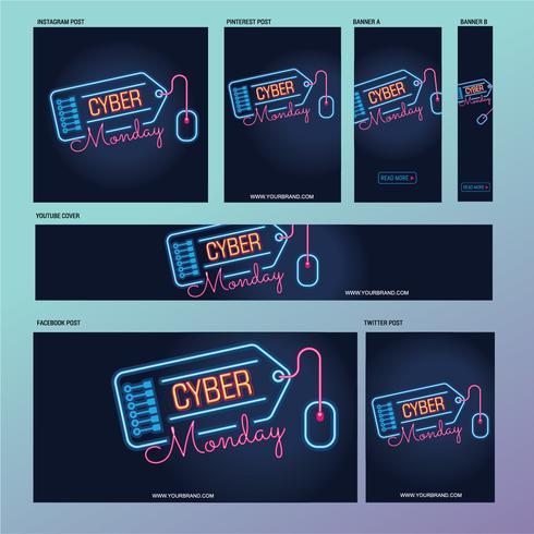 Modello di post sui social media del Cyber Monday con lampade fluorescenti o al neon
