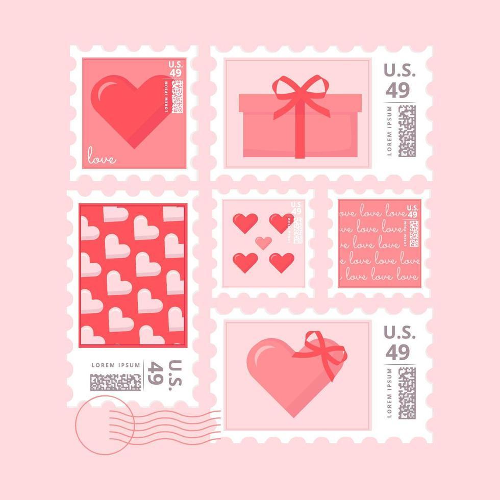 Sellos vectoriales de San Valentín
