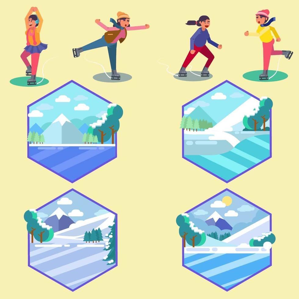 People Ice Skating  vecteur