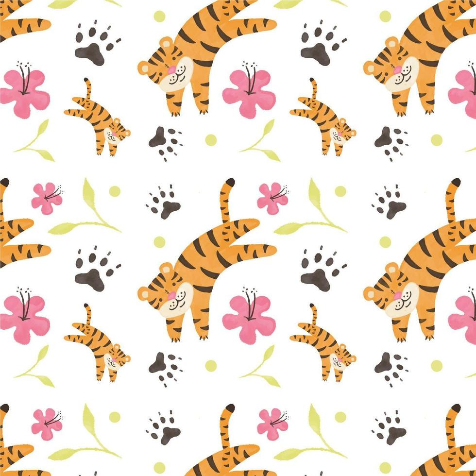 Cute Tiger Pattern With Flower And Leaves vecteur