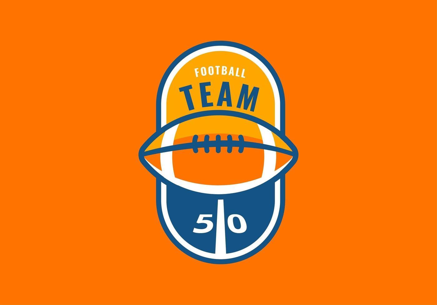 American Football Emblem Half Court Vector