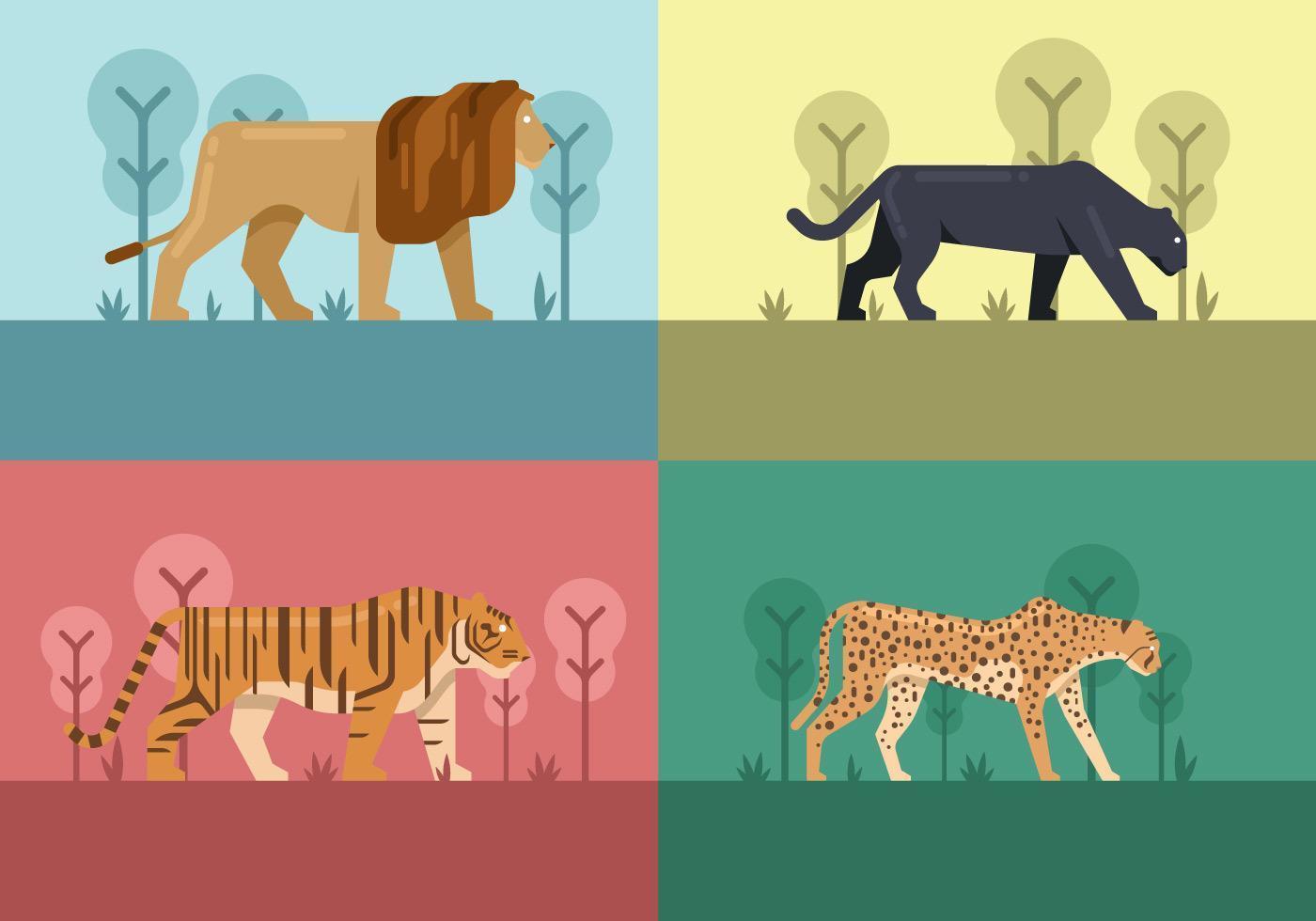 Geometric Big Cats vector