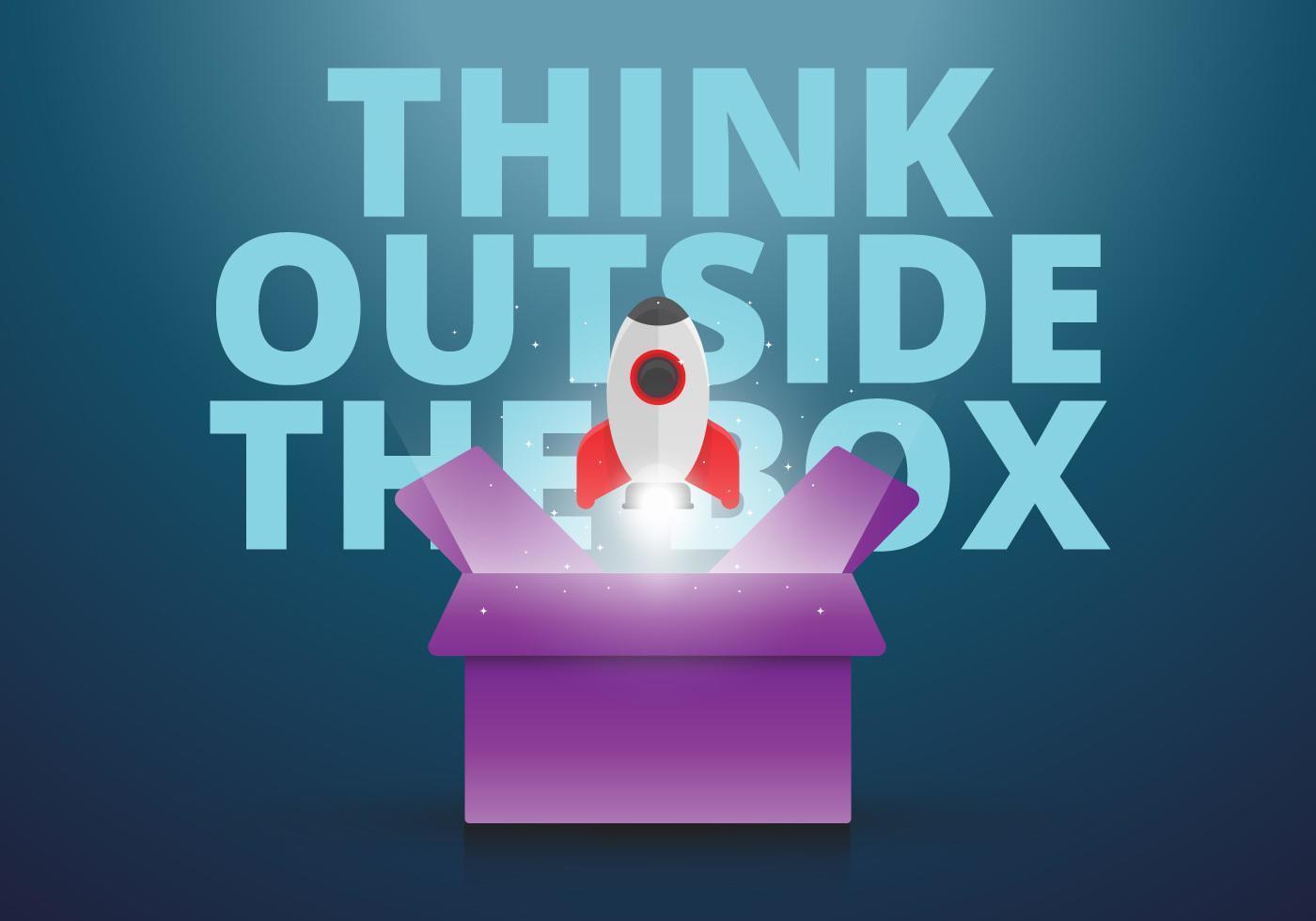 Denk buiten de doos in creatieve stijl, kaarten van aanmoediging met positieve tekst en ruimte, planeet, sterren in creatieve stijlen
